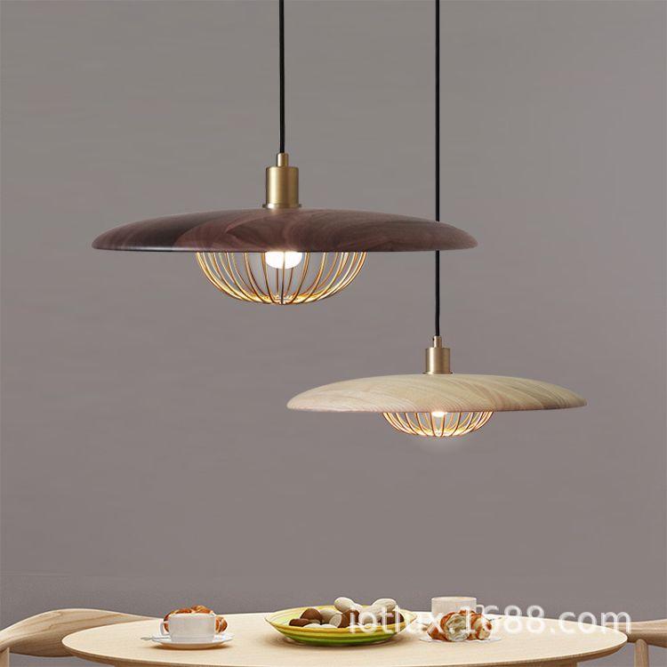 安徽合肥北欧创意吊灯 设计师简约核桃木灯具 餐吊吧台个性铝材吊灯