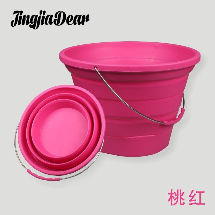 新款多功能7L折叠水桶 便携式户外钓鱼硅胶桶 圆形伸缩折叠硅胶桶