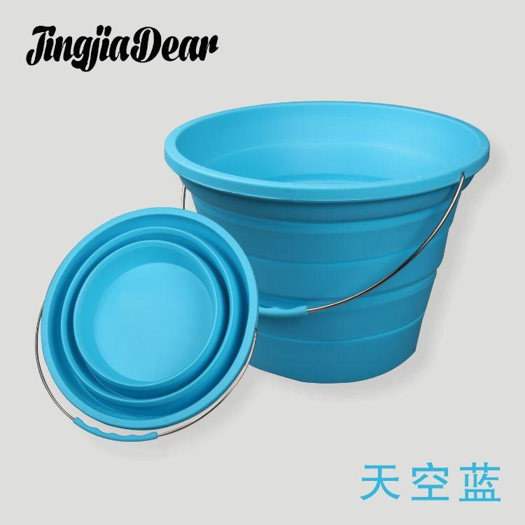 新款7L硅胶折叠水桶 垂钓用便携伸缩桶 硅胶圆形手提折叠桶