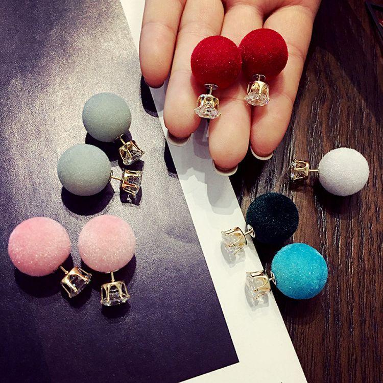 暖冬绒球水晶锆石双面大小珍珠耳钉时尚气质韩国韩版耳坠耳饰耳环