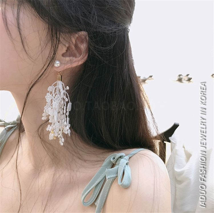 韩国潮人个性气质流苏蕾丝花朵珍珠长款耳环耳饰耳钉耳坠