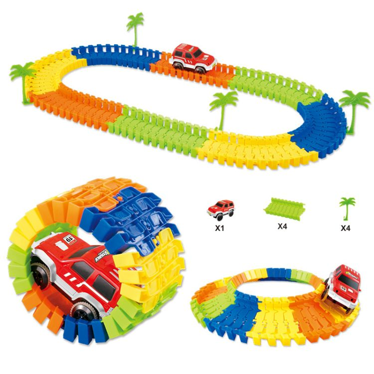 跨境儿童电动轨道车玩具 96psc轨道套装 配小树DIY益智拼装耐摔