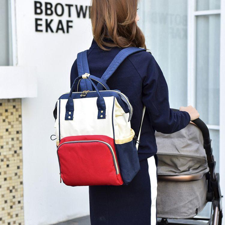 新款时尚母婴双肩包大容量妈咪包防水智能USB接口双肩外出背包