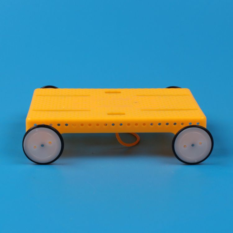 悠悠鱼科学实验玩具科技小制作儿童手工小发明橡皮筋动力小车