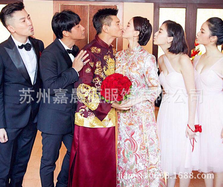 2016新款新娘秀禾服中式结婚嫁衣古装礼服刘诗诗同款旗袍批发