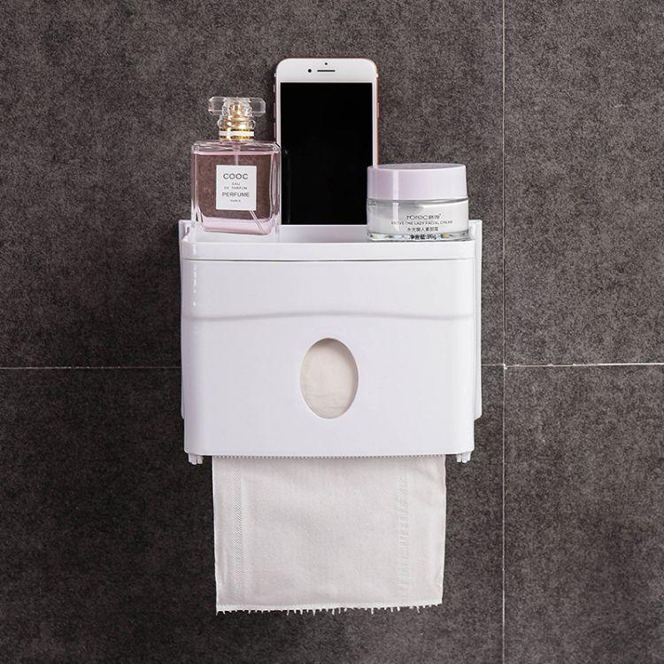 厂家直销免打孔无痕贴防水防尘浴室纸巾盒创意款手机卷纸器收纳盒