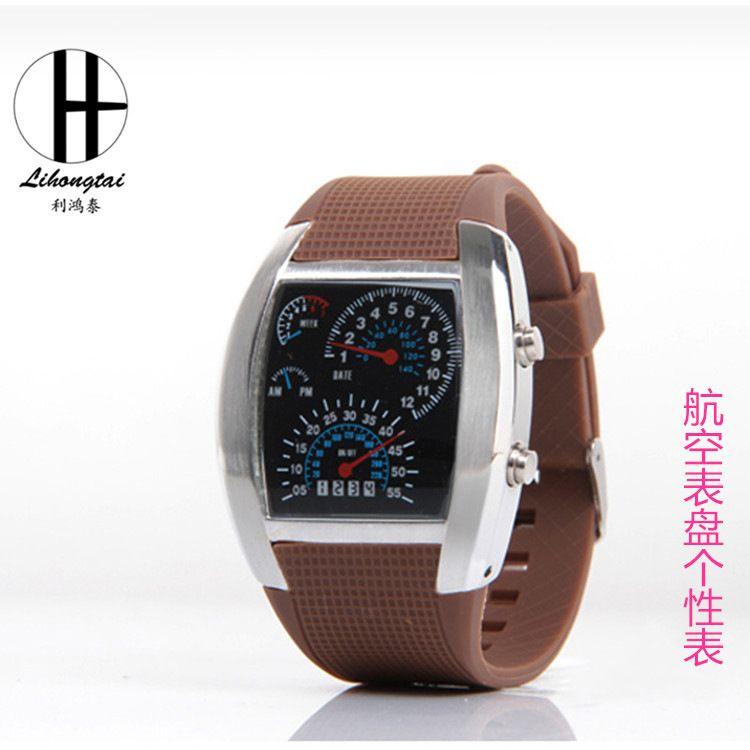 LED厂家批发金属仪表盘手表男式航空手表个性韩国时尚电子手表