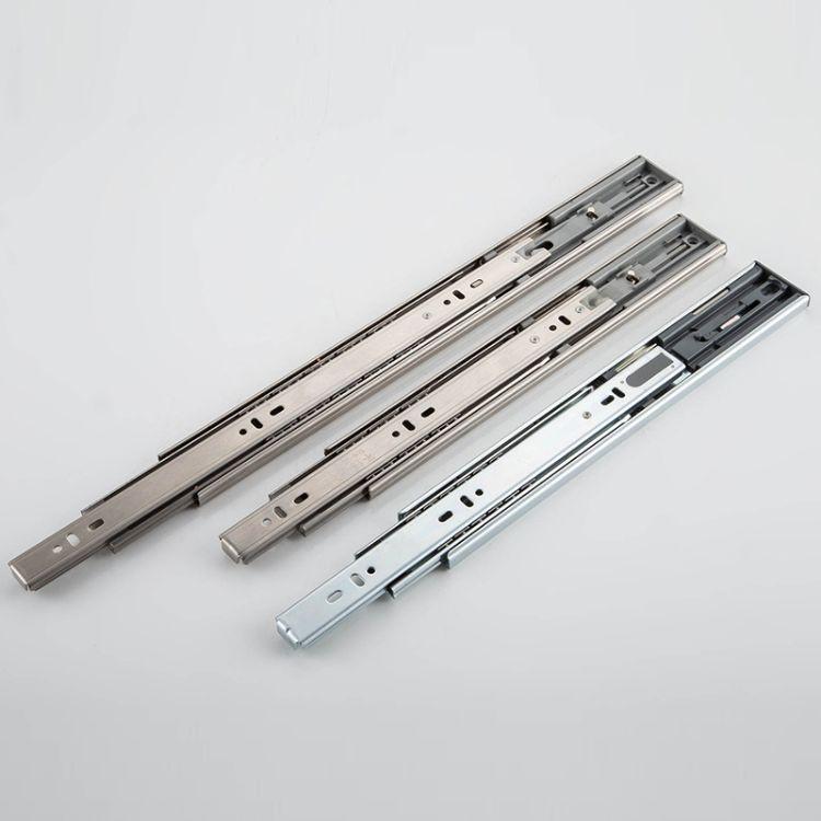 厂家直销304不锈钢三节三折橱柜抽屉阻尼缓冲静音钢珠滑轨导轨