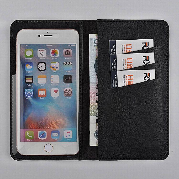 ip8左右开钱包款通用款透明PVC槽位手机皮套仿真皮商务手机皮套