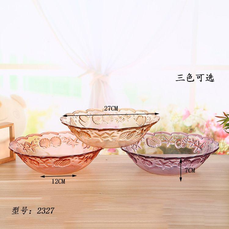 新款创意仿玻璃PS塑料水果盘透明零食干果糖果盘 厂家直销