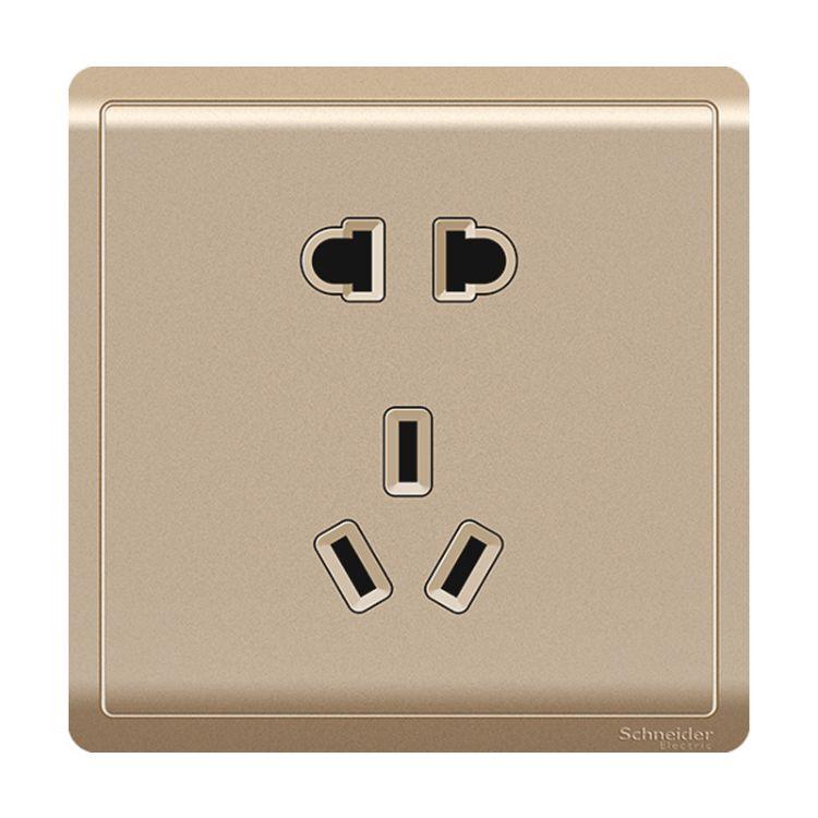 施耐德墙壁开关二三插五孔插座墙壁电源开关插座面板10A 丰尚沉醉