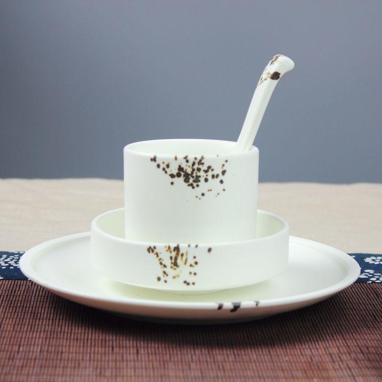 潮州陶瓷 酒店摆台 可加工定制 亚光白釉 创意 碗碟套装 北欧餐具