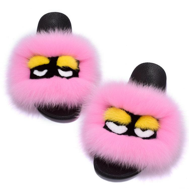 厂家批发定做新款毛绒狐狸毛怪脸室内居家怪兽女式棉拖鞋 冬