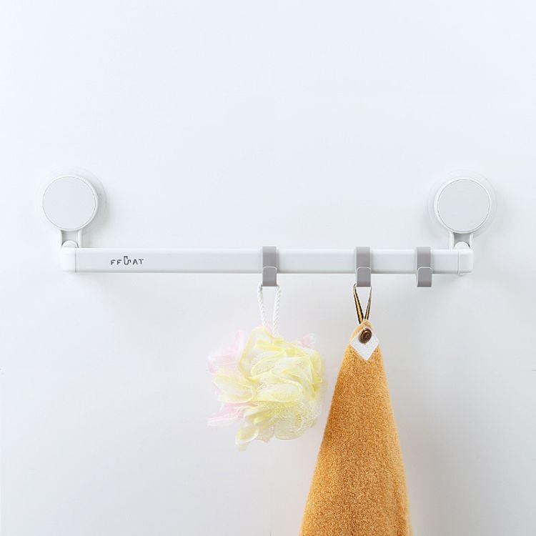 非非猫浴室单杆毛巾架厨房免打孔毛巾杆卫生间壁挂置物架晾杆