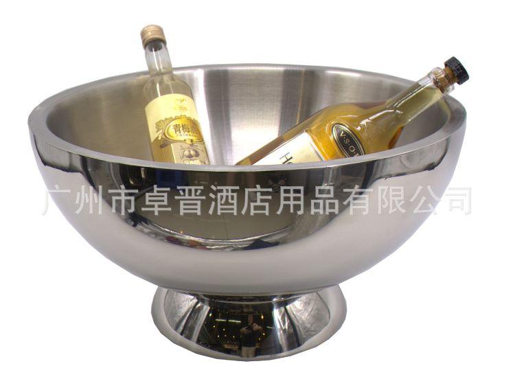 不锈钢双层高档宾治盘  沙拉盘 水果盘  花盘 香槟桶酒店KTV