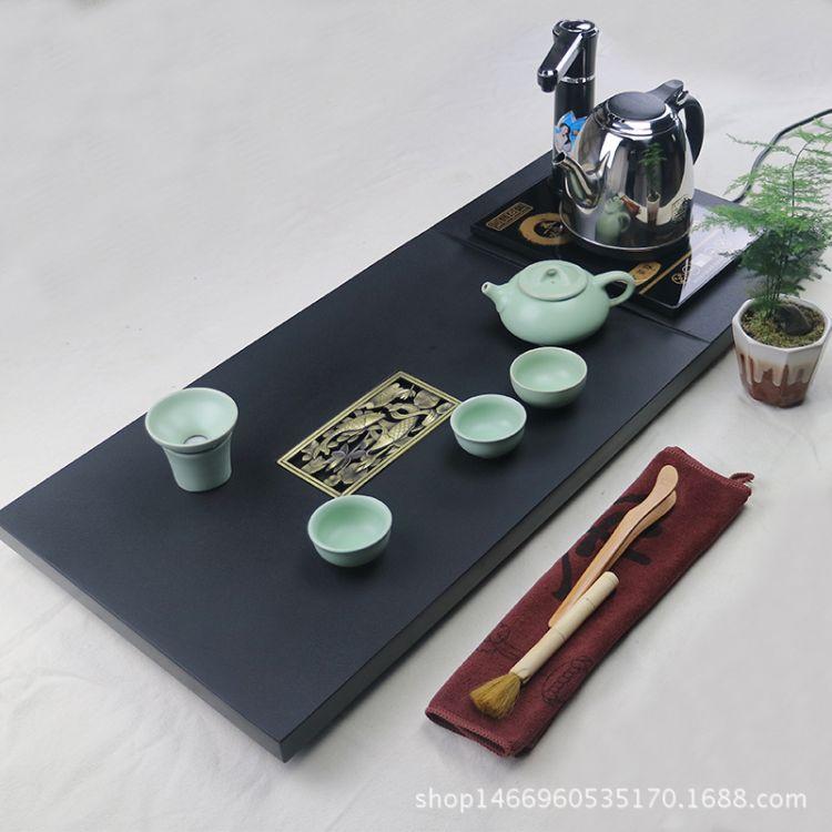 天然整塊烏金石茶盤一體電磁爐套裝功夫排水石頭茶海茶臺石材茶具