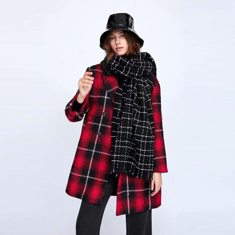 2018欧美秋冬新款黑色亮丝软呢围巾N1-1550