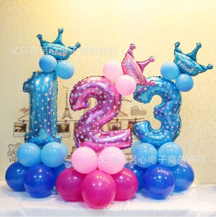宝宝周岁百天数字立柱0-9路引儿童生日派对布置大号卡通气球装饰