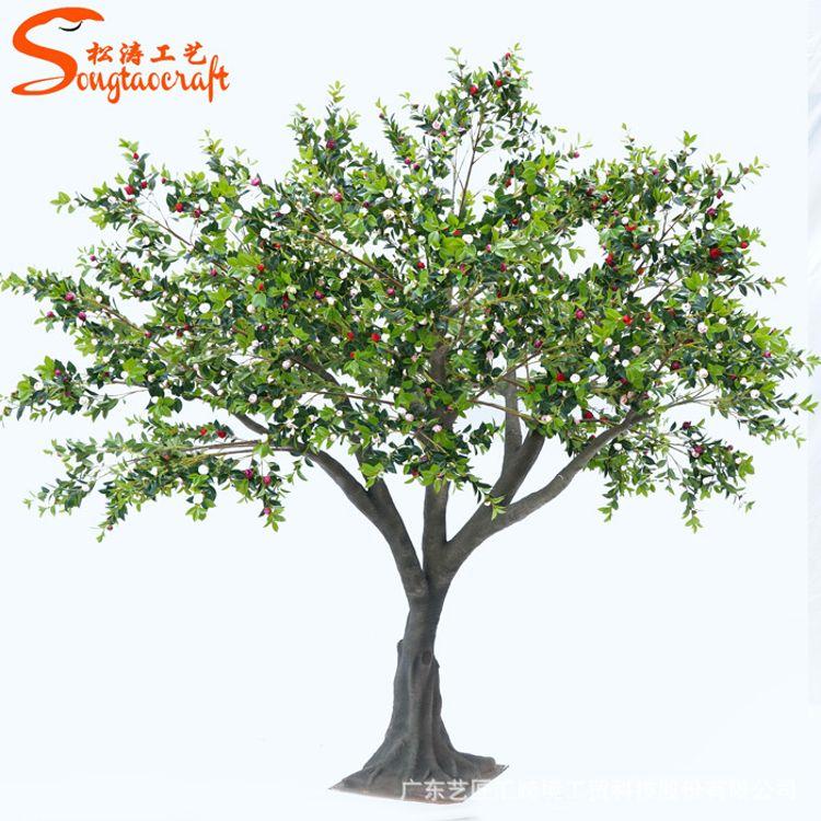 厂家批发定制仿真树景观装饰茶花树大型人造假树园林酒店装饰树