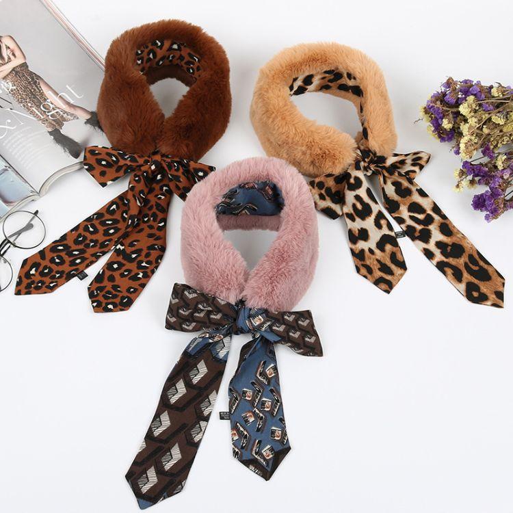 冬季豹纹波点拼接韩版脖子保暖领巾仿獭兔毛毛绒围巾围脖一件代发