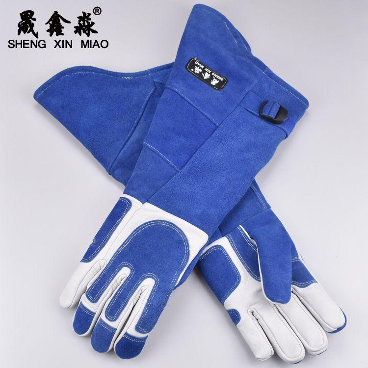 头层牛皮多功能电焊手套 防割耐磨隔热加长护袖防护手套 厂家批发