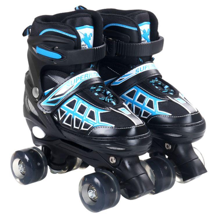 厂家批发全闪白光轮滑鞋儿童溜冰鞋套装成人男女双排滑轮速滑特价