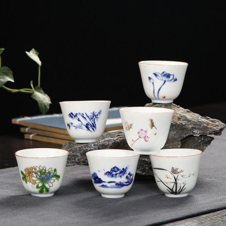 批发德化白瓷功夫茶具杯子釉中彩品茗杯陶瓷