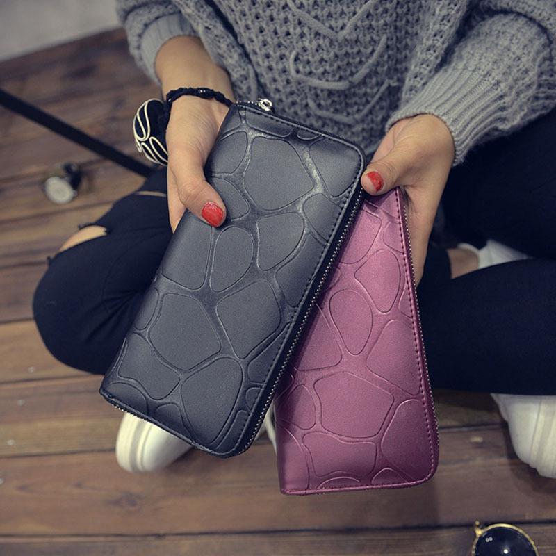 新款韩版女包潮流PU包石头纹钱包时尚休闲手拿中长款钱夹卡包批发