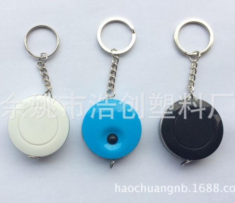 厂家供应皮卷尺 塑料尺 促销礼品 圆形带开关按钮PVC皮卷尺钥匙圈