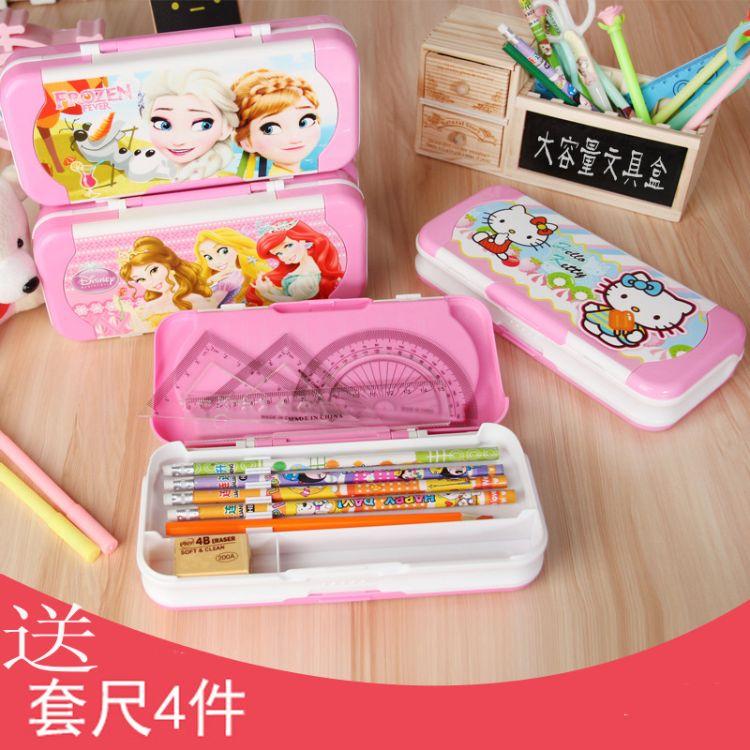 儿童文具盒女韩国创意可爱小学生用1-3年级幼儿园公主三层铅笔盒