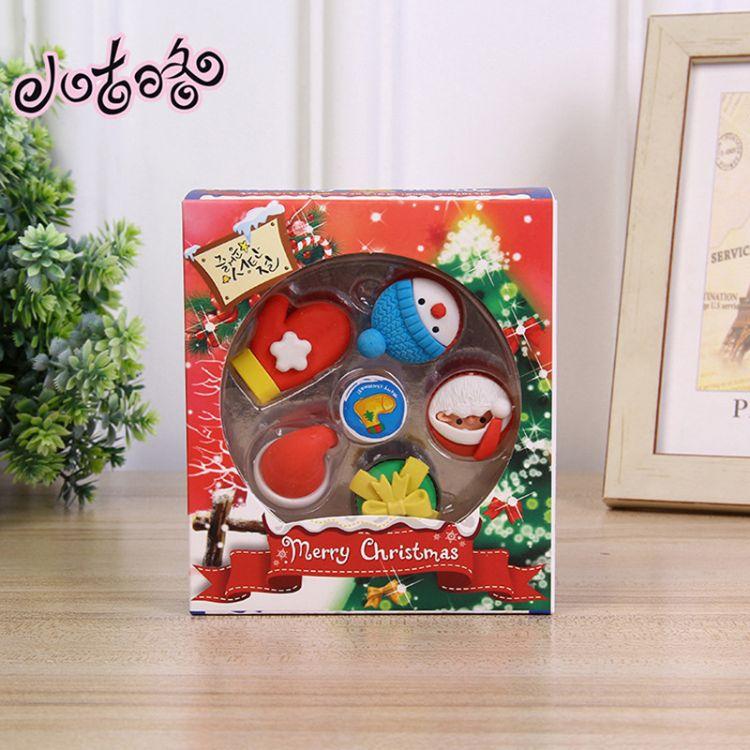 厂家直销 套装圣诞橡皮 可爱文具吸卡套装定制批发幼儿园