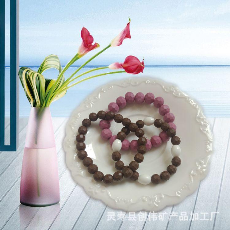 创伟矿产品厂家直销托玛琳锗石珠 托玛琳饰品能量圆地球珠子 量大从优