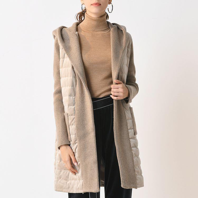 2018冬季韩版新款羽绒服中长款连帽针织拼接女状宽松纯色一件代发