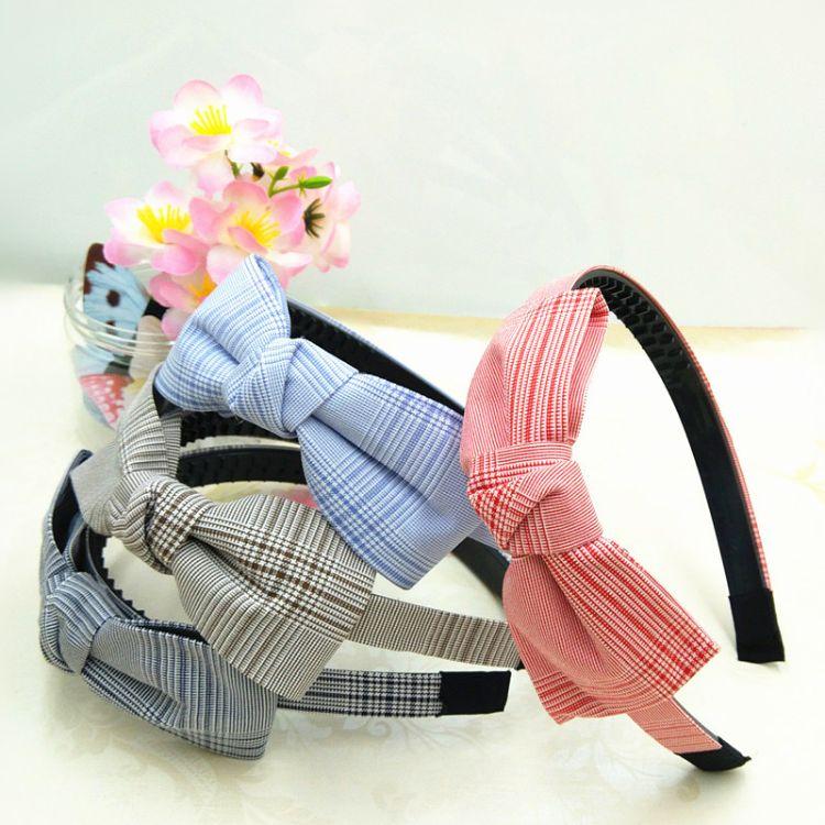 韩版布艺发箍格纹蝴蝶结发卡女孩头箍公主个性花朵发饰品