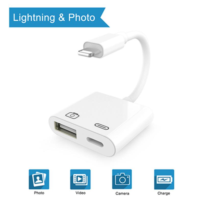 Lightning to USB相机套件转换器3合1转接器适用苹果耳机转换器