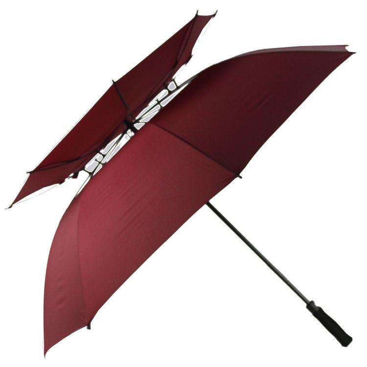 广告伞定做商务直杆真双层高尔夫伞EVA柄全纤维伞 一件代发
