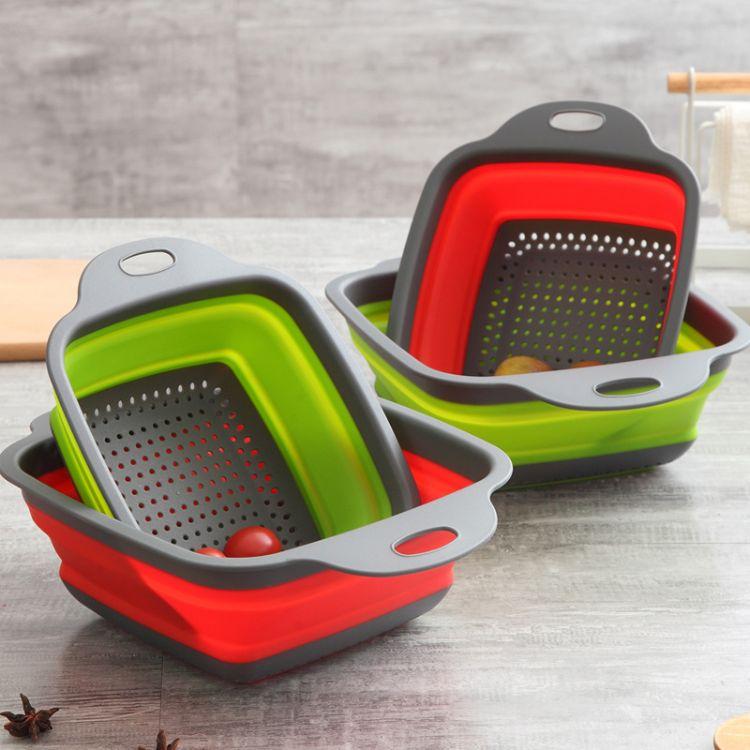 可折叠菜篮子厨房沥水篮塑料洗菜盆长方形创意菜漏水果客厅厂家