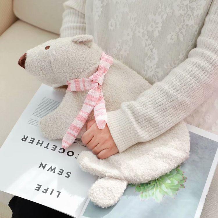 秋冬季可爱卡通北极熊毛绒热水袋套 橡胶热水袋注水暖手袋汤婆子
