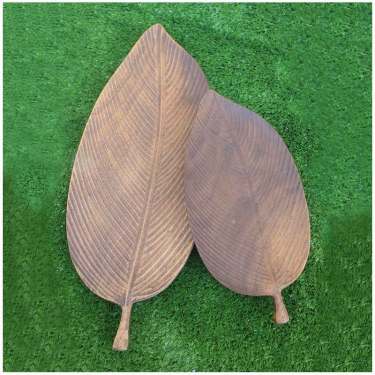 创意木质茶盘 新款木质工艺茶托茶盘 树叶形茶具托盘