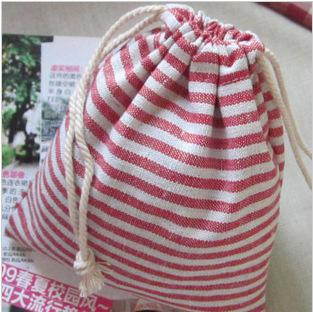 亚麻布艺化妆收纳束口包 抽绳束口袋小方包 深圳手袋厂