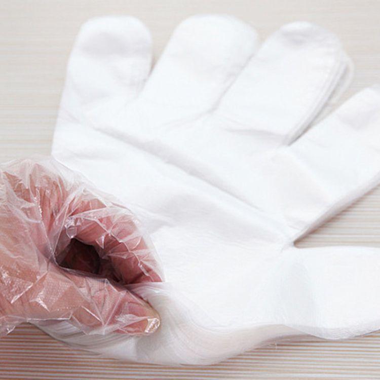 加厚一次性塑料手套pe塑料薄膜 透明手套抽取式盒装食品厨房