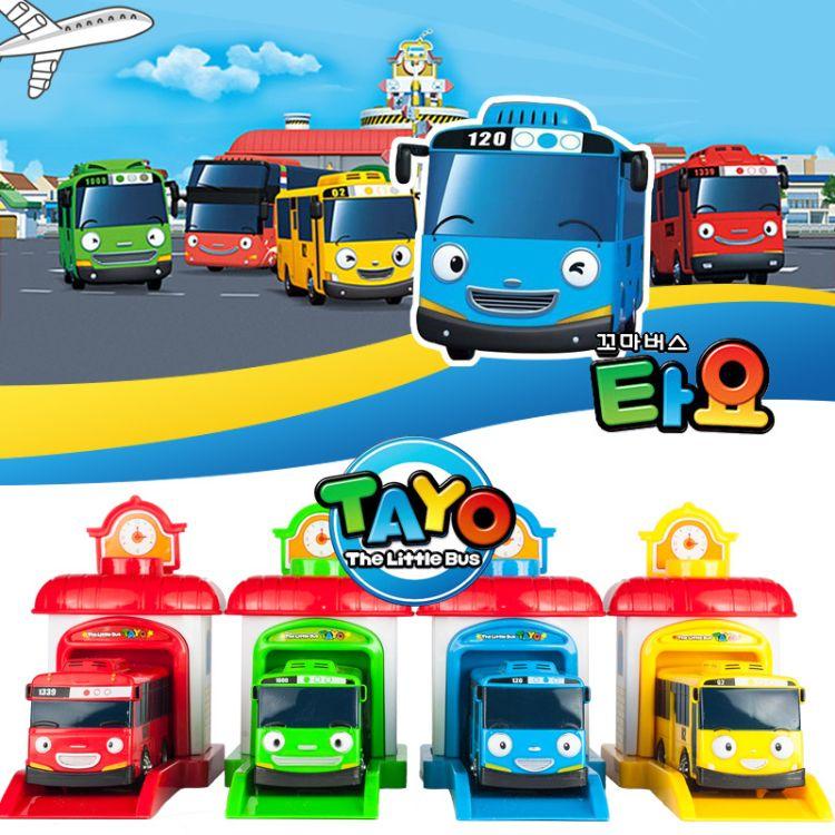速卖通爆款tayo韩国卡通巴士弹射回力玩具车男孩儿童汽车模型玩具玩具厂批发