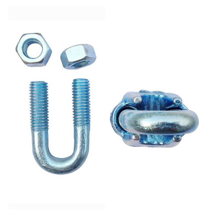 钢丝绳u型卡头 U型锁扣 玛钢重型卡头 钢丝绳扣索具 五金锁具