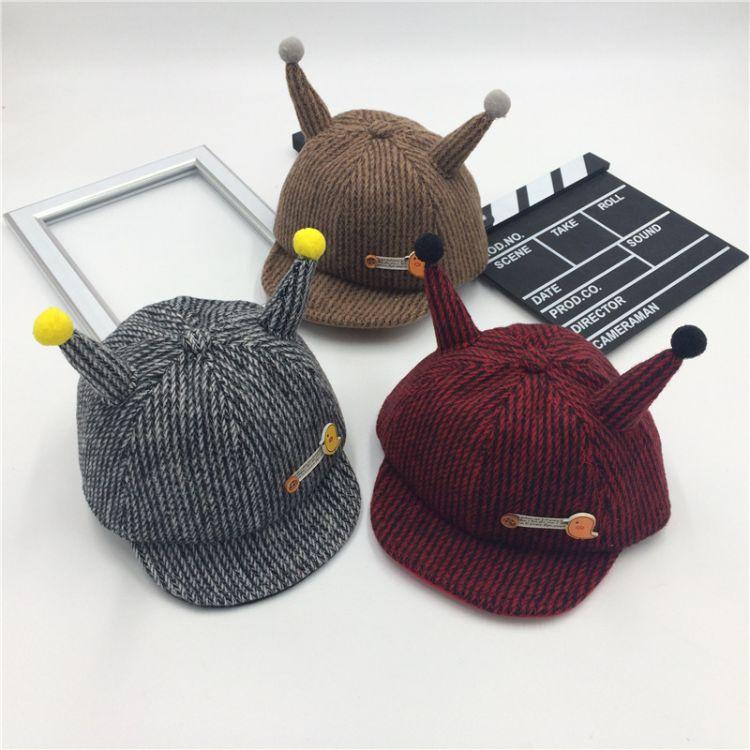 韩版软沿毛呢宝宝帽秋冬保暖儿童帽子1-2岁男女孩触角小鸟鸭舌帽