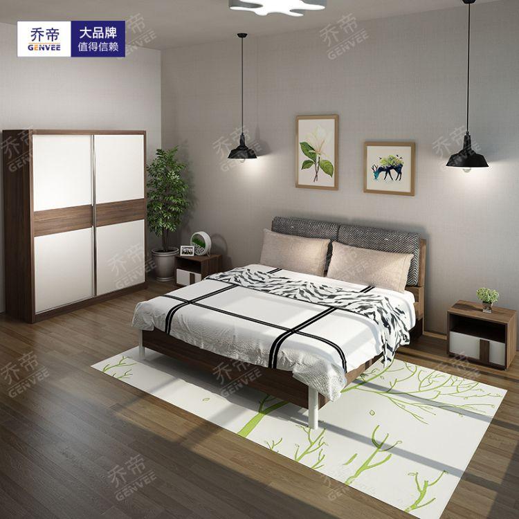 现代简约板式床主卧1.8米北欧小户型软靠卧室储物高箱单双人床