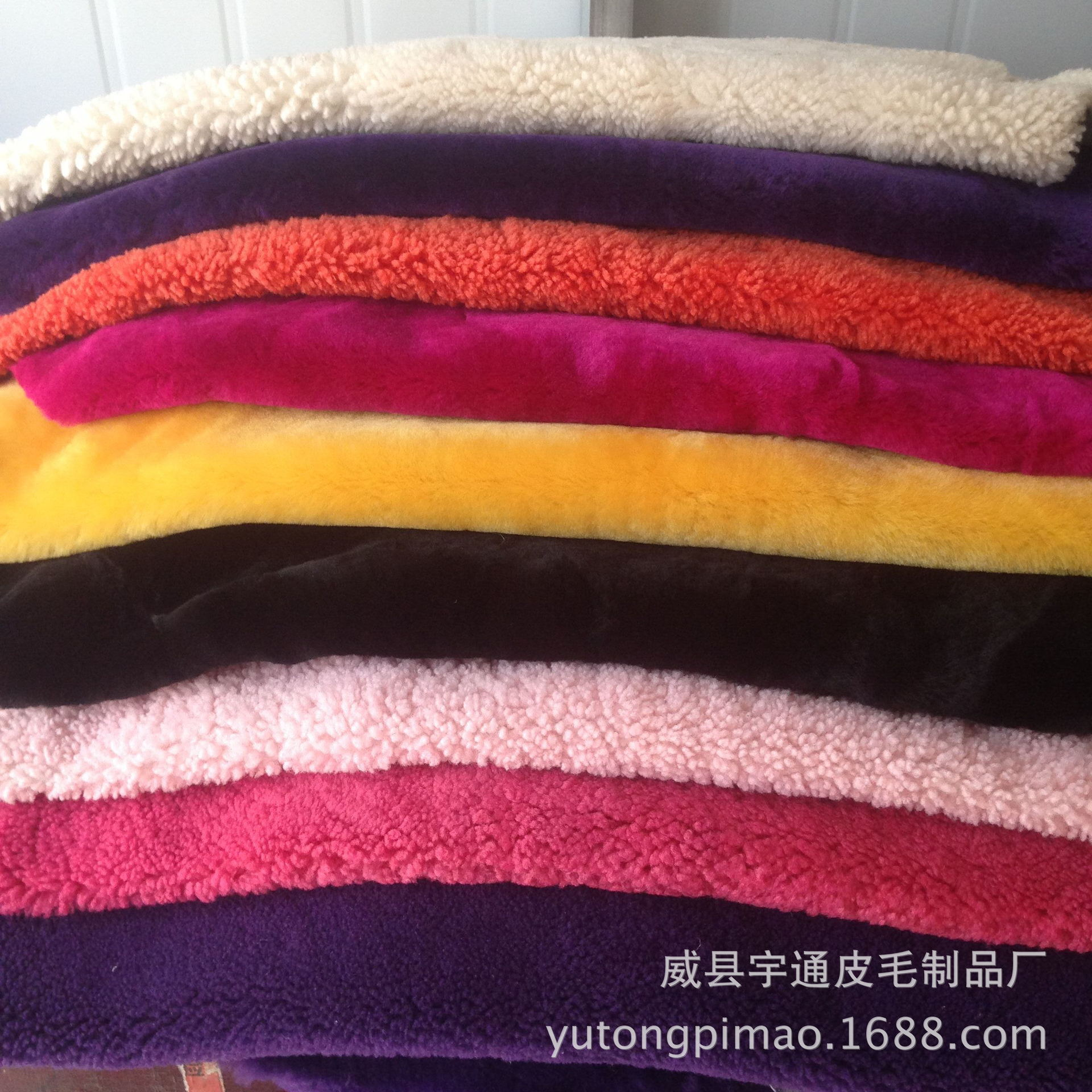 厂家直销澳洲进口羊皮卷花染色皮草服装羊剪绒皮领口袖口鞋口装饰