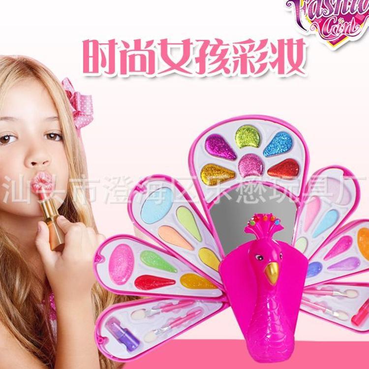 直销 时尚女孩新款孔雀盒儿童彩妆化妆品玩具套装全环保安全无毒