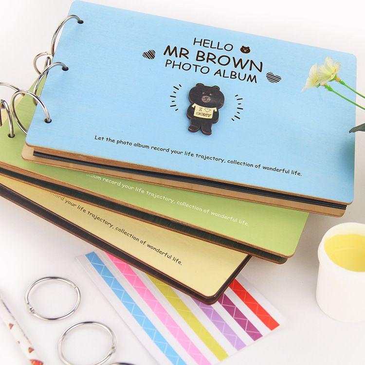 10寸宝宝成长记录册 精美DIY手工木质相册 清新创意定制纪念册