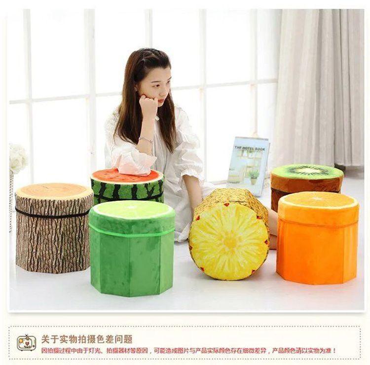 创意水果收纳凳 可折叠可坐人 大容量绒布大号储物凳厂家直销