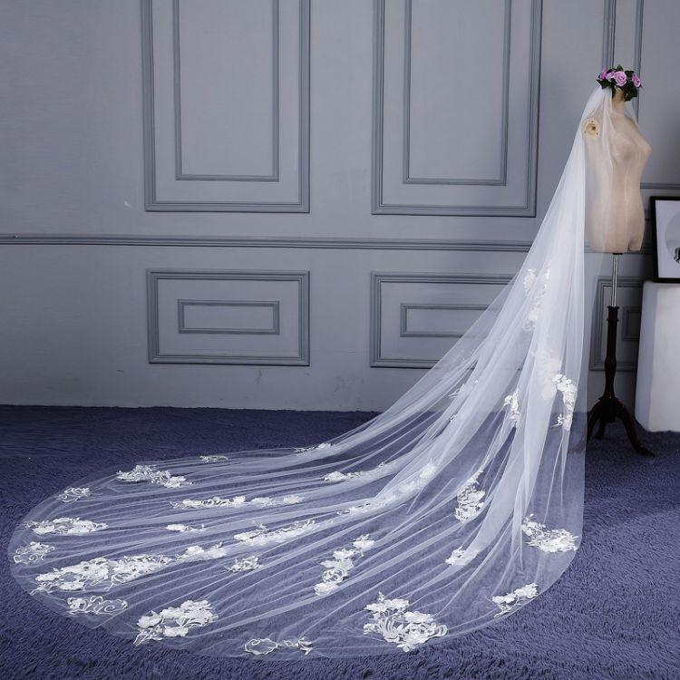 韩式新款花边超长新娘结婚头纱婚纱头纱贴花蕾丝白色礼服配饰批发